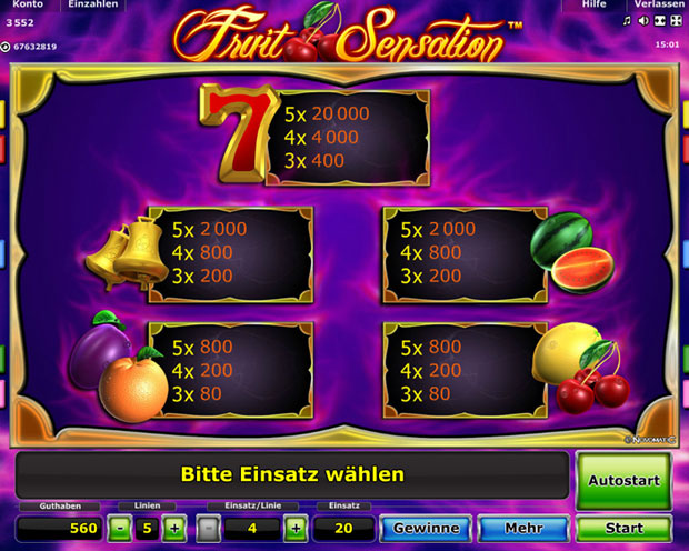 Fruit Sensation Paytable