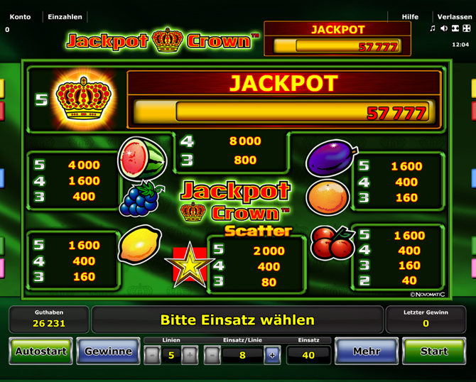 Jackpot Crown paytable