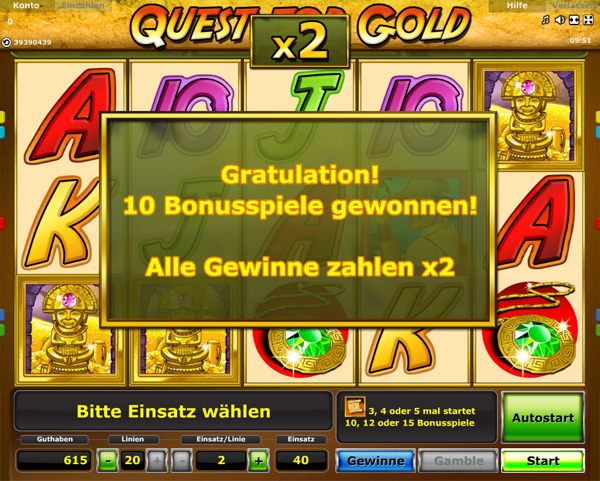 Quest for Gold Freispiele